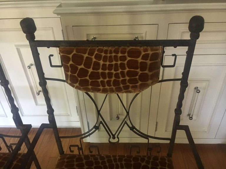 Pair of Art Deco Wrought Iron Chairs with Cut Velvet For Sale 1