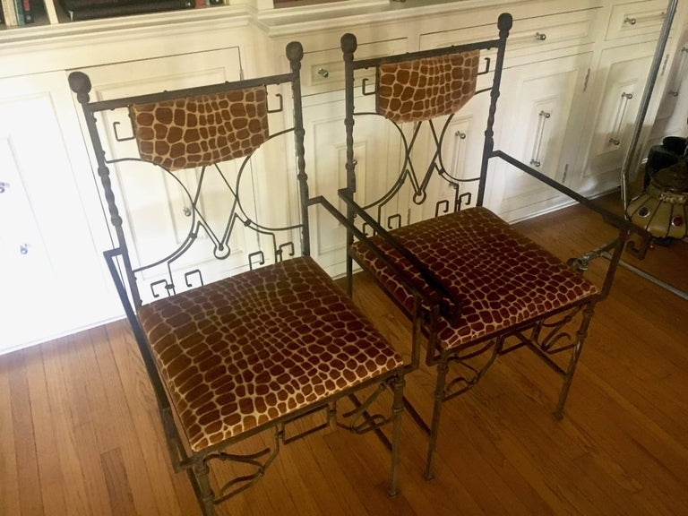 Pair of Art Deco Wrought Iron Chairs with Cut Velvet In Excellent Condition For Sale In Los Angeles, CA