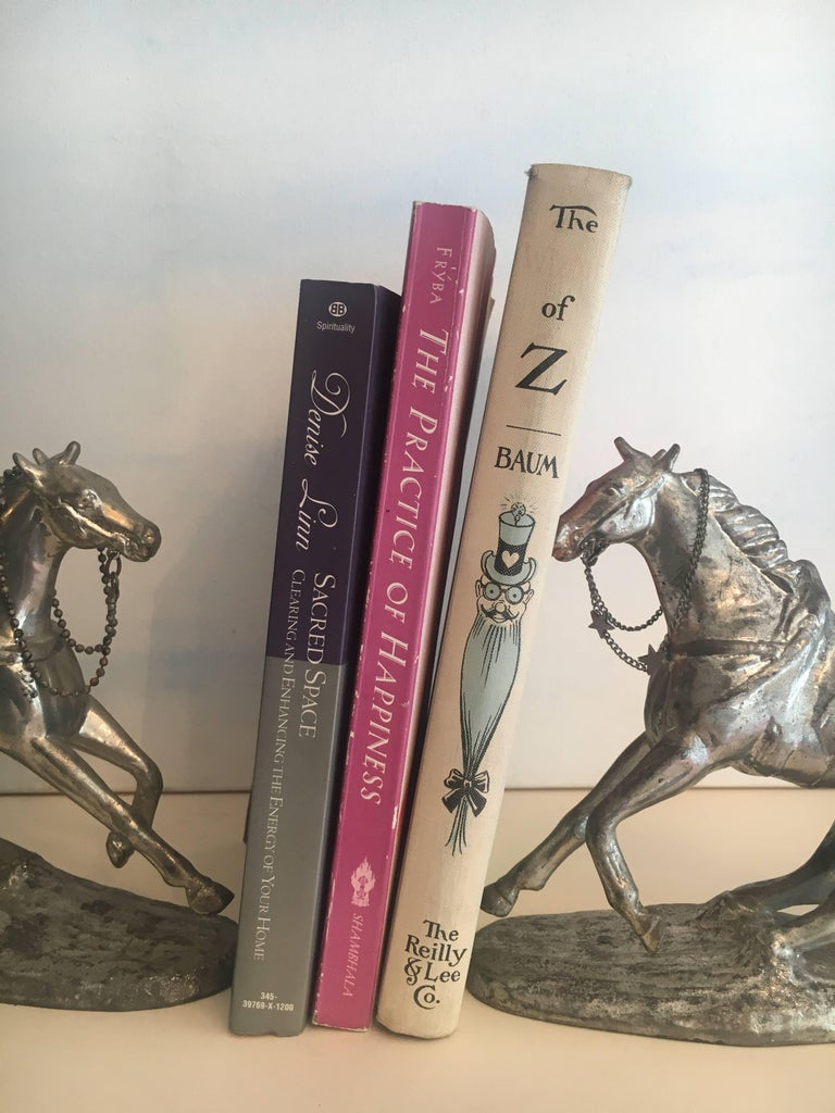 20th Century Pair of Metal Horse Bookends For Sale