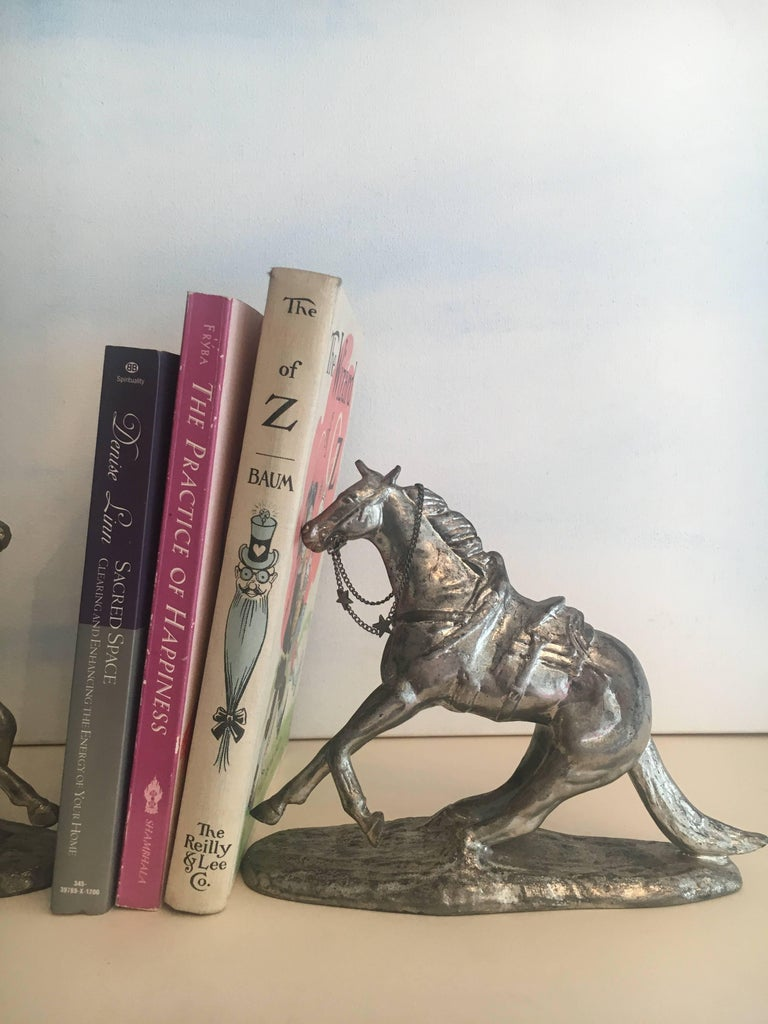 Pair of Metal Horse Bookends For Sale 1
