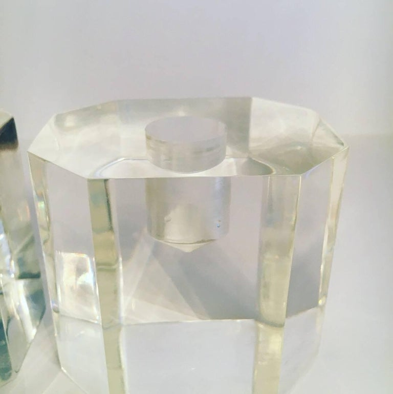 20th Century Pair of Midcentury Acrylic Candle Sticks For Sale