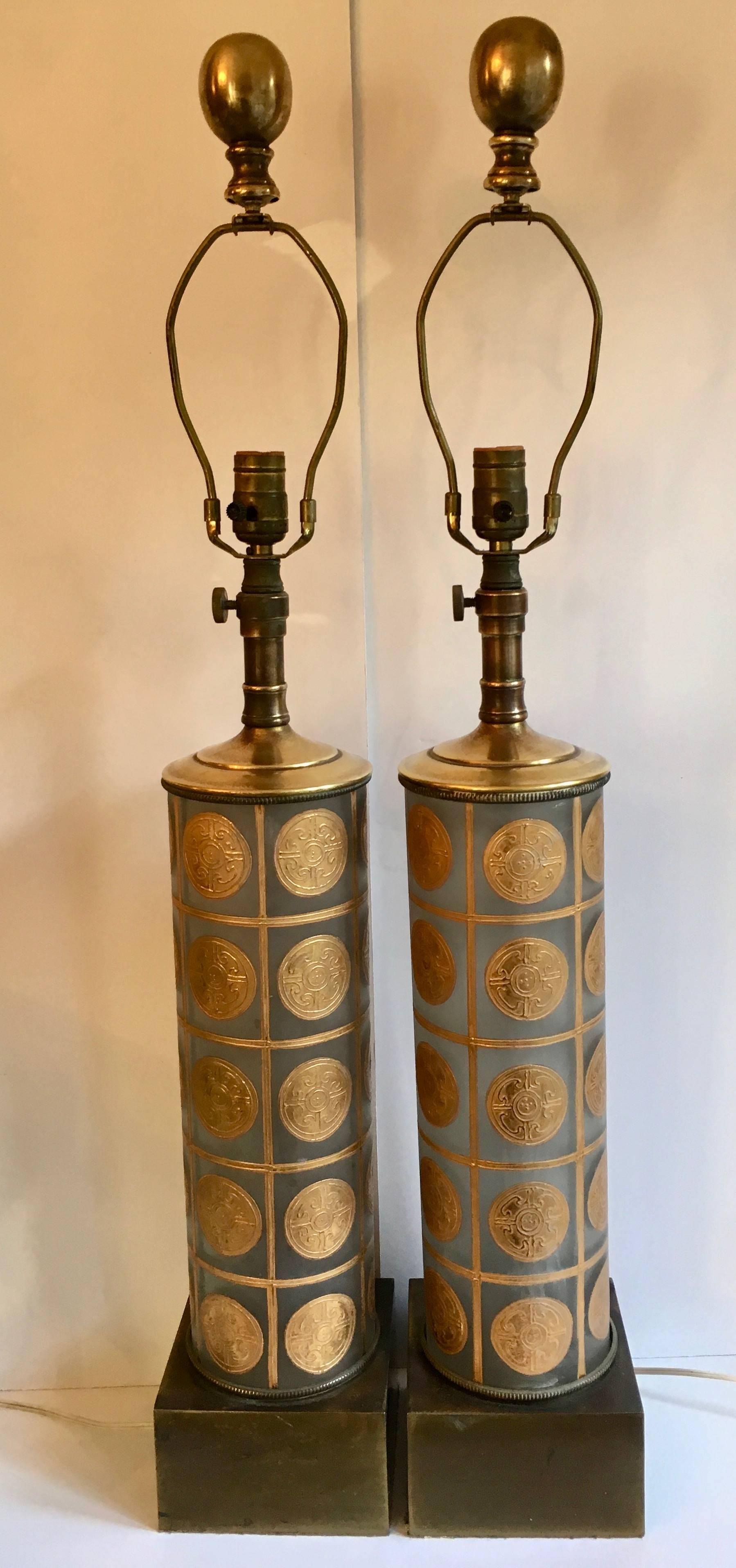 Mid Century Modern Pair Of Lamps In The Manner Of Versace Fornasetti For  Sale