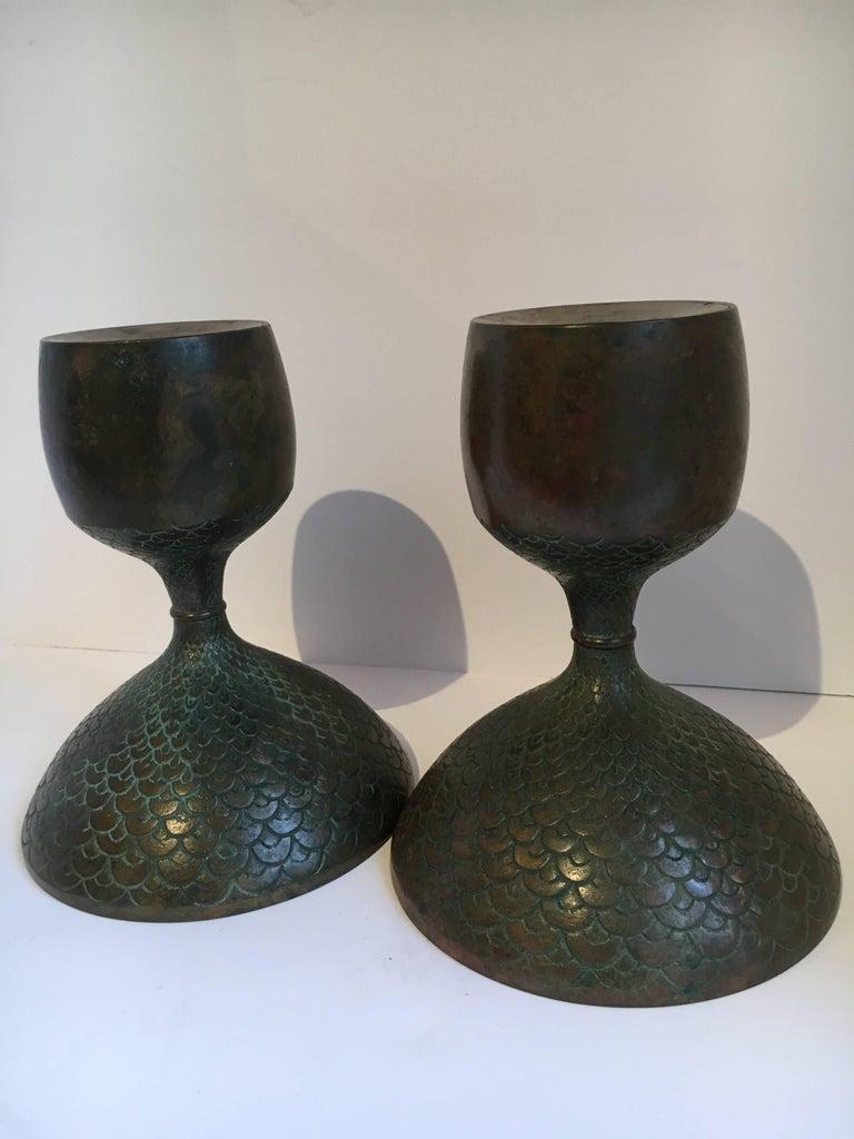 Pair of Bronze European Candle Sticks 3