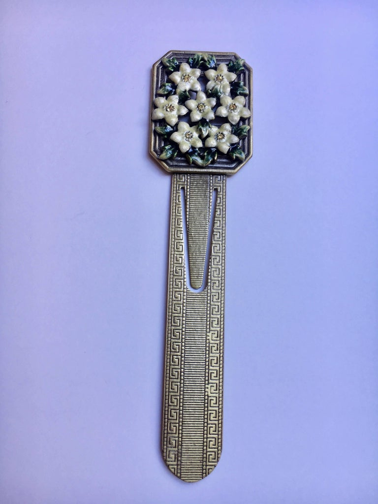 Enamel and Brass Bookmark with Semi Precious stones - perfect for the avid reader who likes to be Novel!
