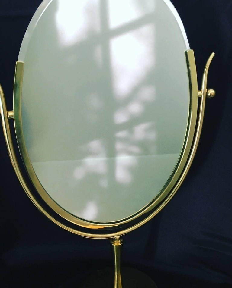 Charles Hollis Jones Brass Wishbone Vanity Mirror For Sale 2