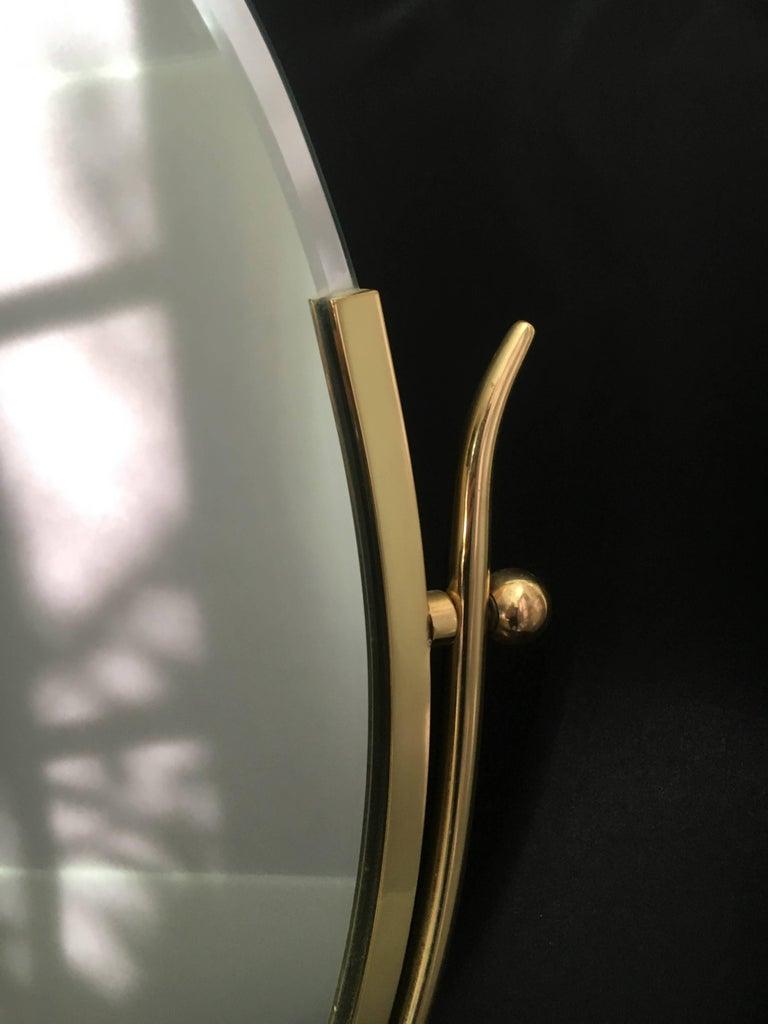 Charles Hollis Jones Brass Wishbone Vanity Mirror In Good Condition For Sale In Los Angeles, CA