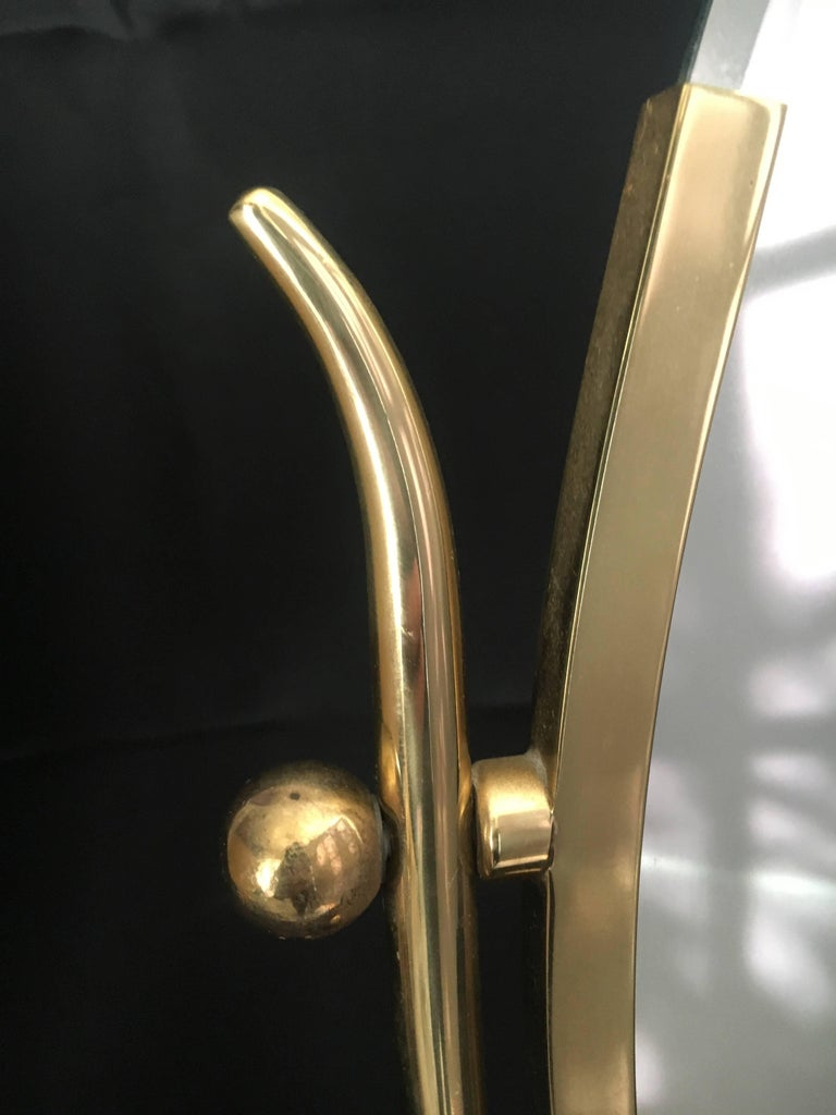 Mid-Century Modern Charles Hollis Jones Brass Wishbone Vanity Mirror For Sale