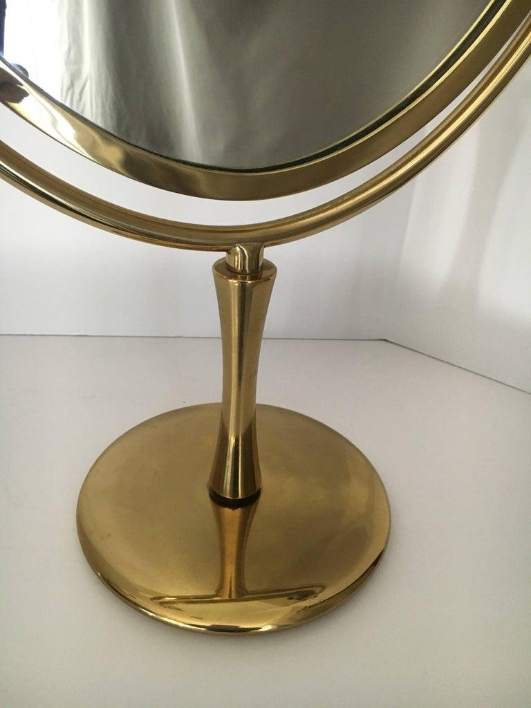 20th Century Charles Hollis Jones Brass Wishbone Vanity Mirror For Sale