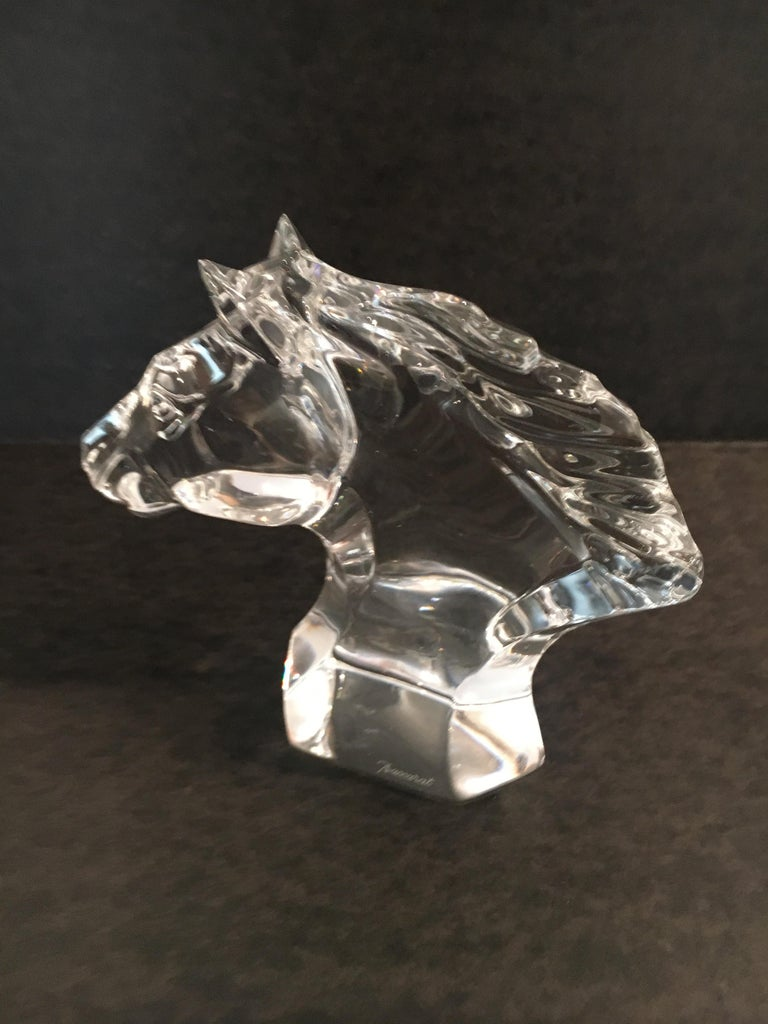 Mid-Century Modern Baccarat Horse Head Sculpture Paper Weight For Sale
