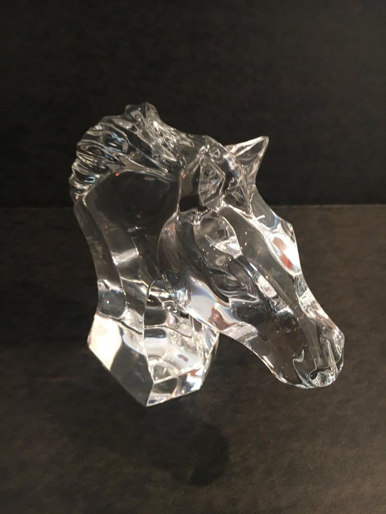 French Baccarat Horse Head Sculpture Paper Weight For Sale