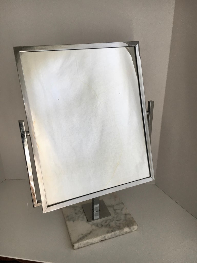 Vintage large chrome-plated table vanity mirror on marble base - This could be Charles Hollis Jones, but we aren't certain - a handsome mirror in very good condition with mirror on both sides - neither mirror is magnified. Perfect for your bathroom,