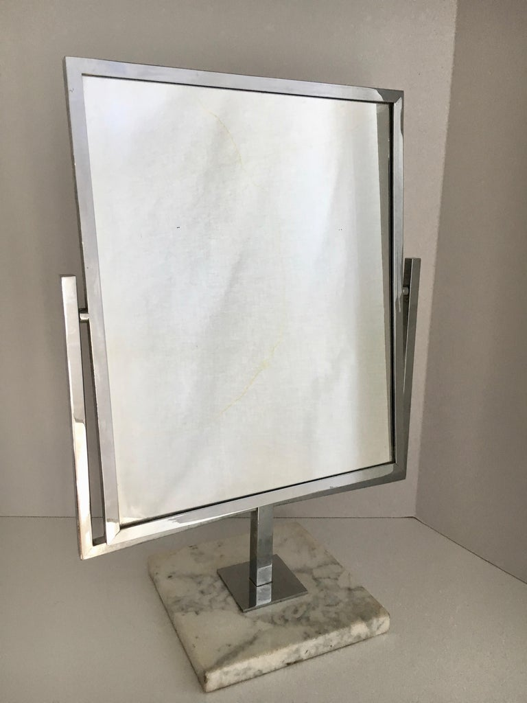 Mid-Century Modern Table Vanity Mirror on Marble Base after Charles Hollis Jones For Sale
