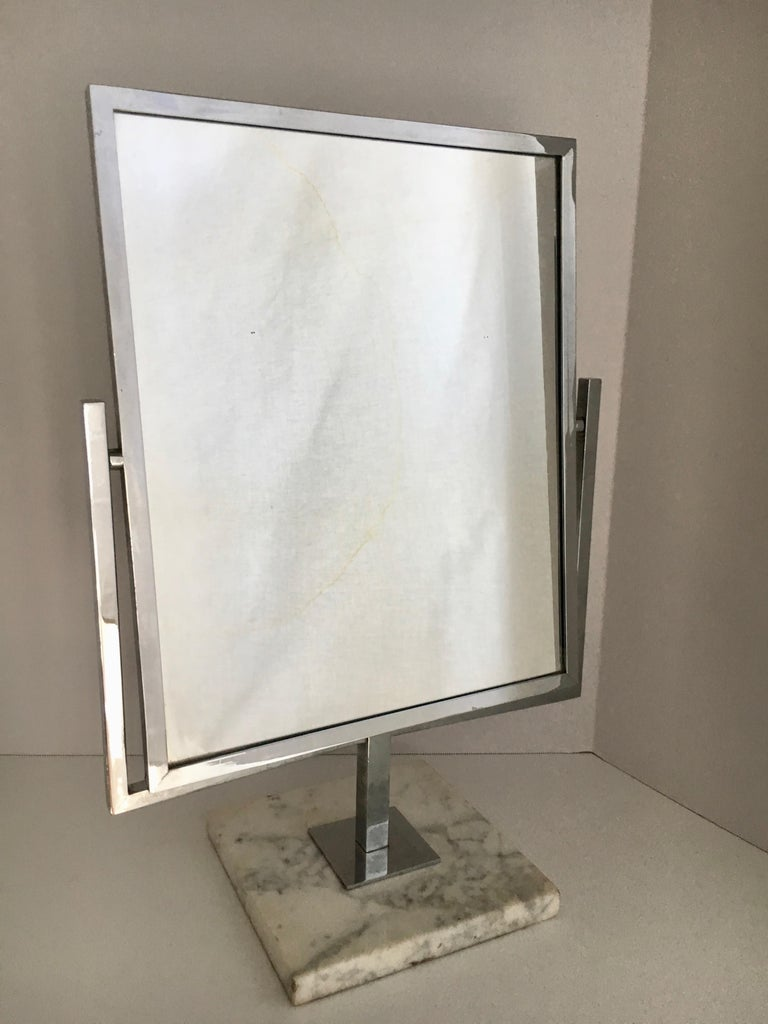Table Vanity Mirror on Marble Base after Charles Hollis Jones In Good Condition For Sale In Los Angeles, CA