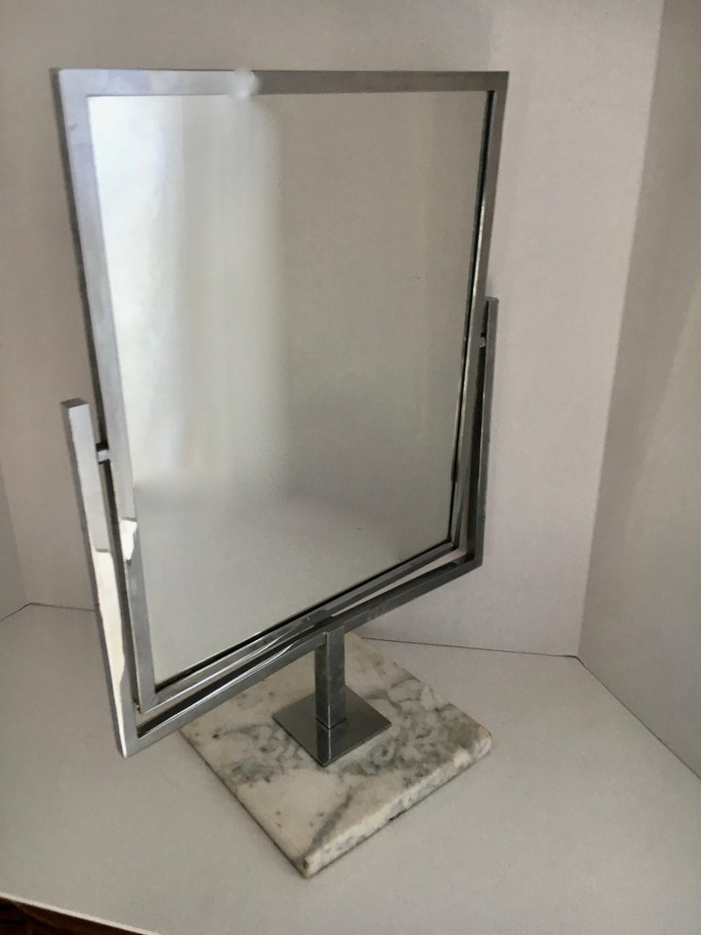 Table Vanity Mirror on Marble Base after Charles Hollis Jones For Sale 1