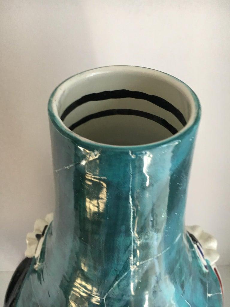 Mid-Century Modern San Polo Venezia Italian Harlequin Ceramic Vase For Sale