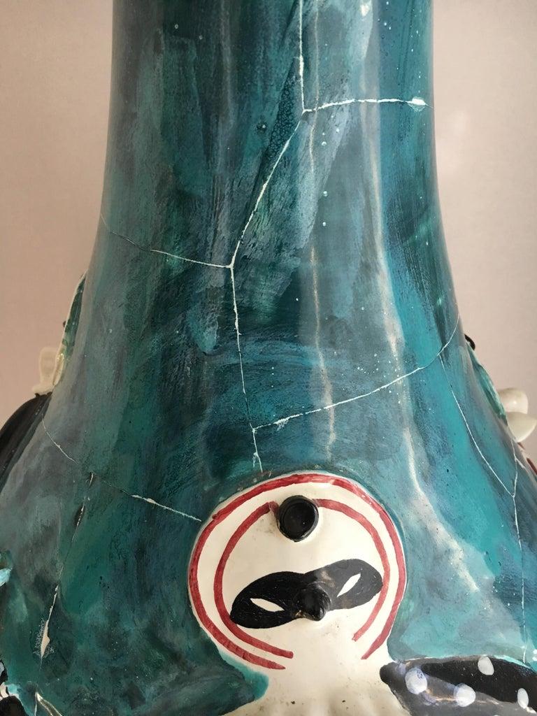 European San Polo Venezia Italian Harlequin Ceramic Vase For Sale