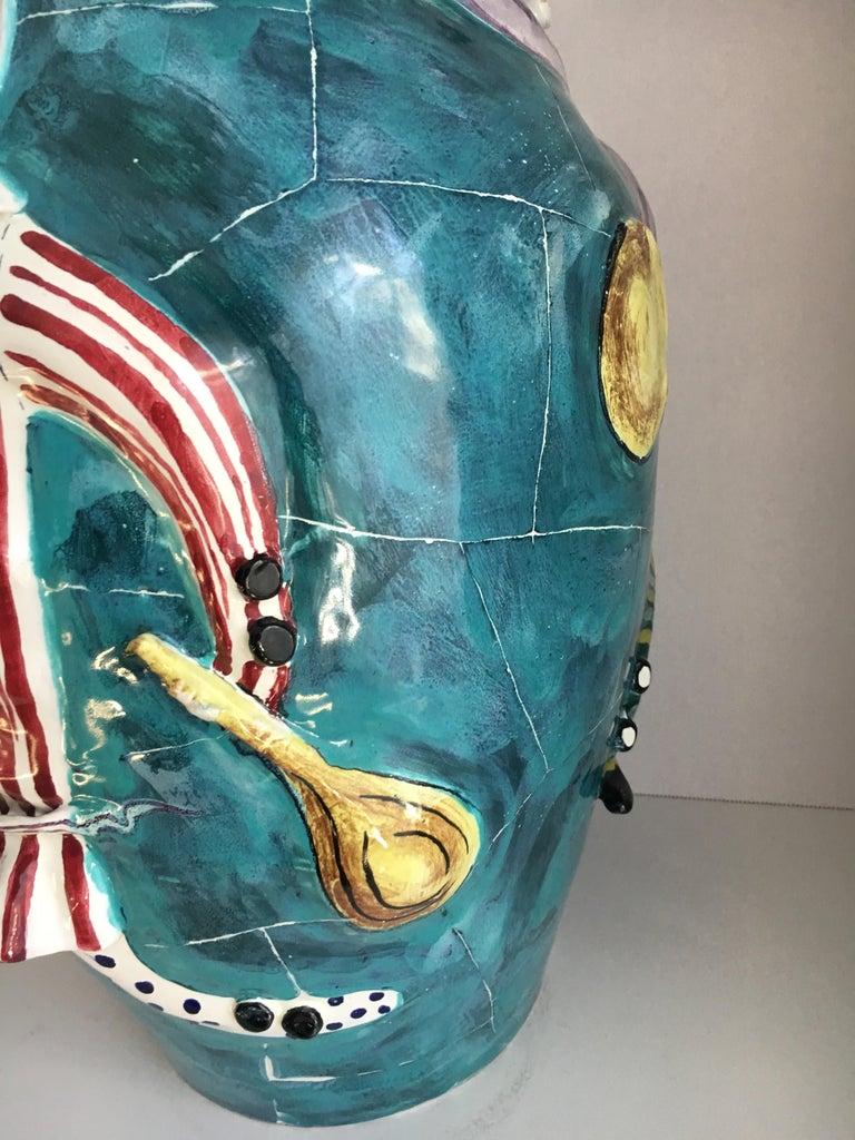San Polo Venezia Italian Harlequin Ceramic Vase For Sale 2