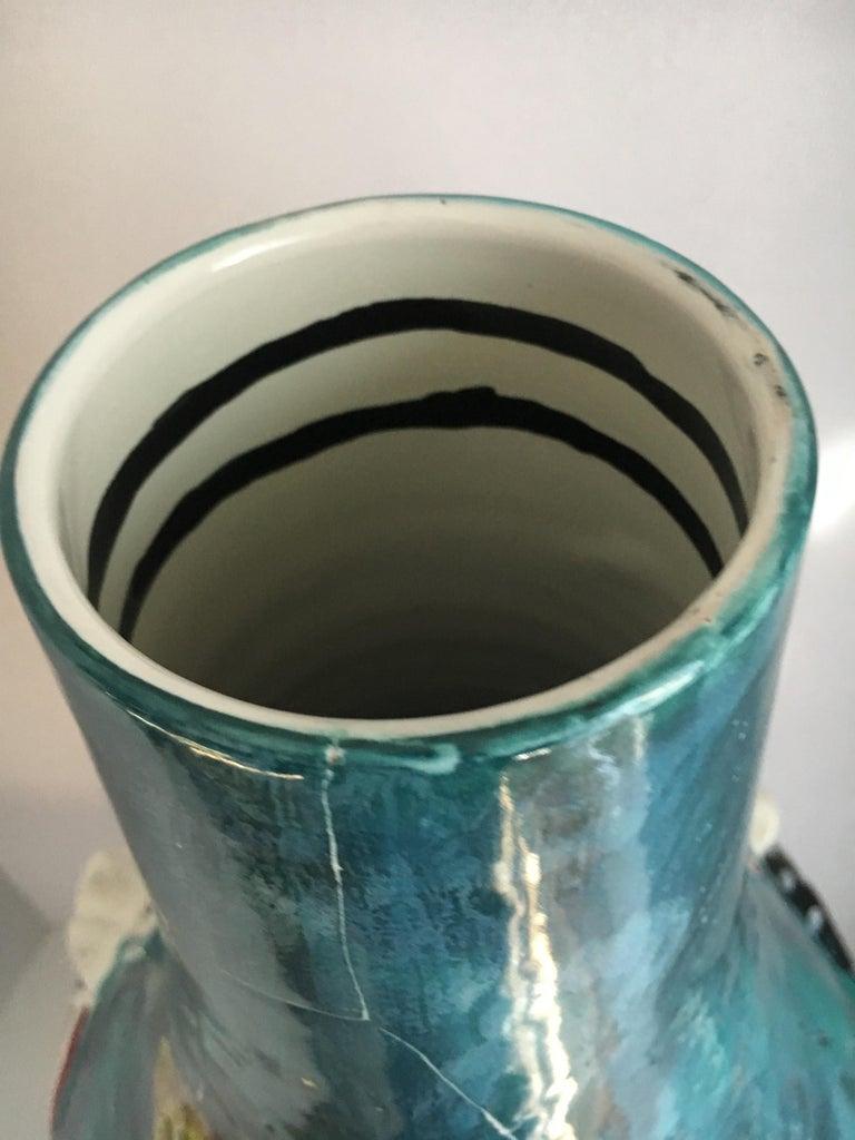 San Polo Venezia Italian Harlequin Ceramic Vase For Sale 6