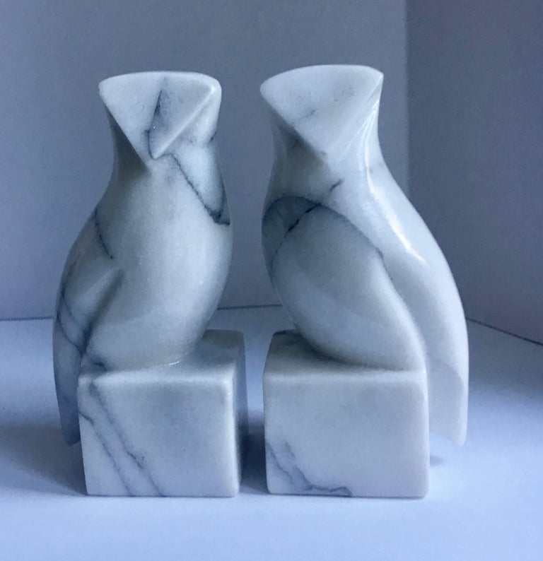 Pair of marble owl bookends - a very sleek and modern pair. Great for any owl lover or modern clean shelf or desk.