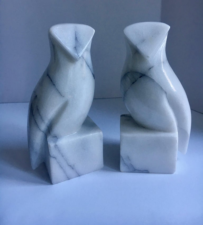 Mid-Century Modern Pair of Carrara Marble Owl Bookends For Sale