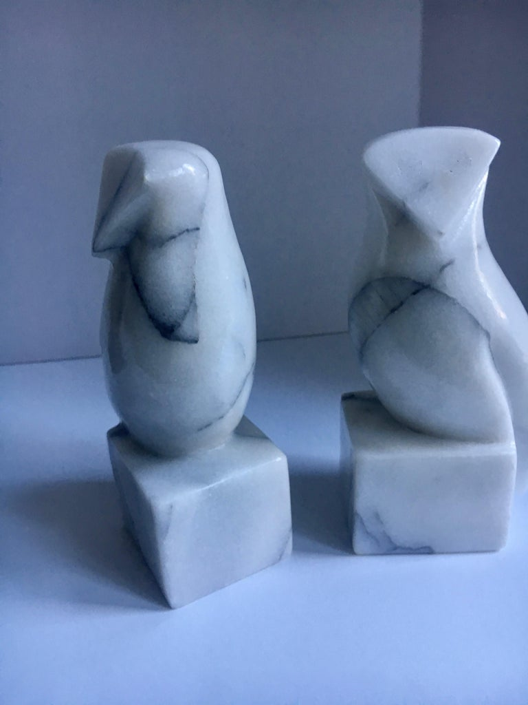 20th Century Pair of Carrara Marble Owl Bookends For Sale