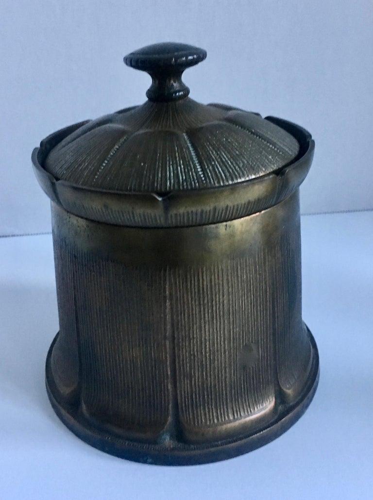 Uniquely designed brass humidor, vintage tobacco or 420 holder.