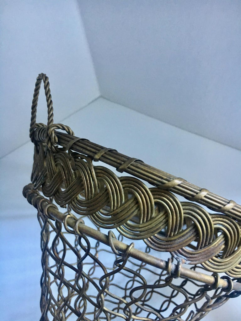 French Brass Woven Wall Pocket In Good Condition For Sale In Los Angeles, CA