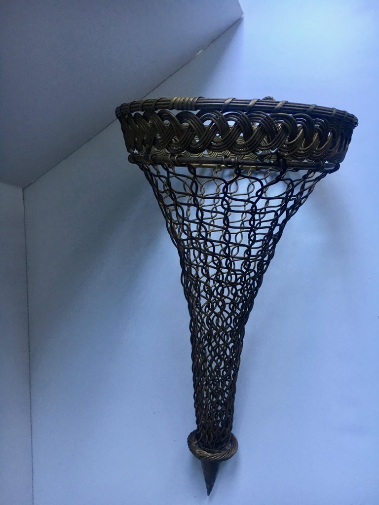 French Brass Woven Wall Pocket For Sale 1