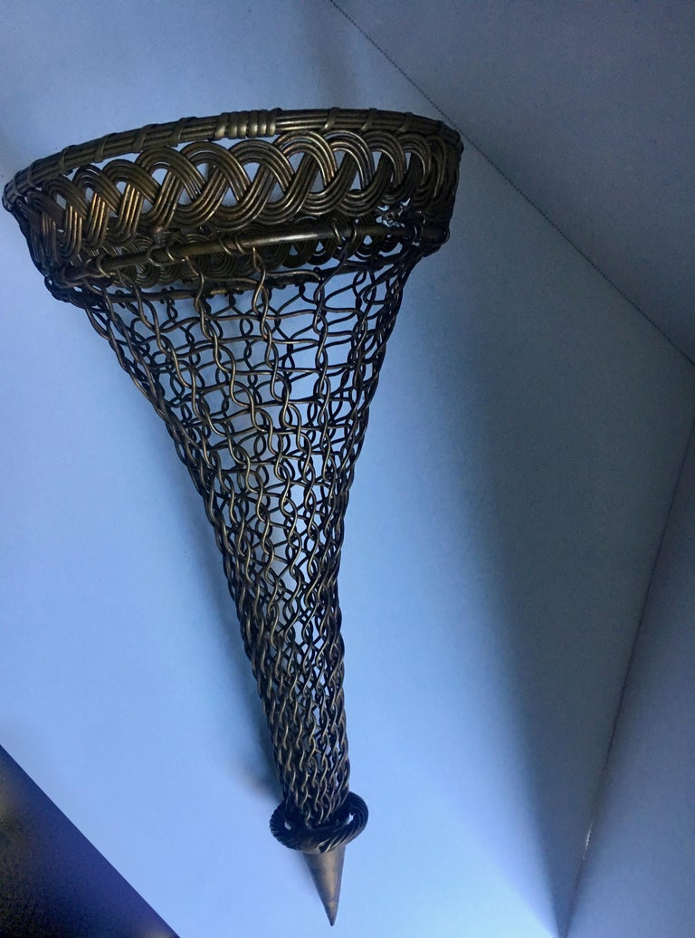 French Brass Woven Wall Pocket For Sale 2