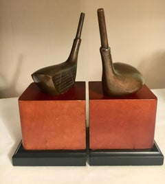 Golf Bookends with Brass Club