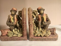 Pair of Bookends with Monkeys