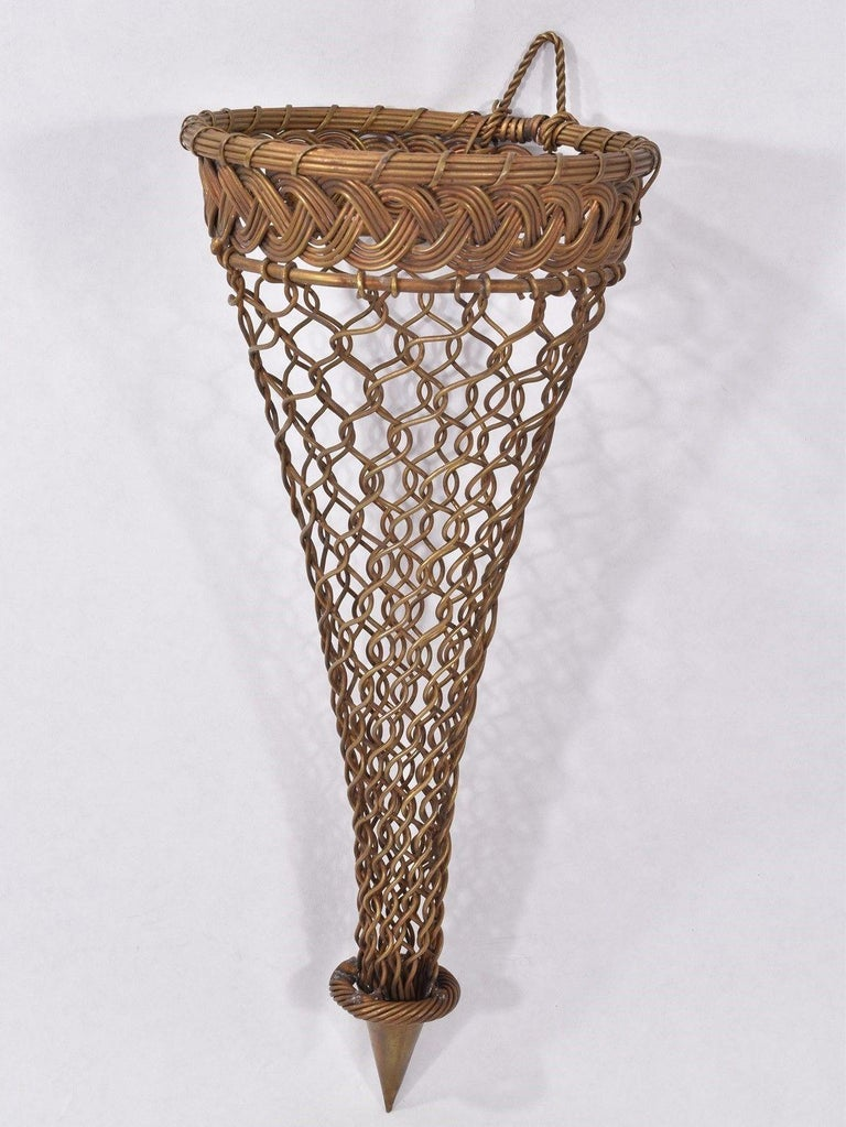 French Brass Woven Wall Pocket For Sale 3