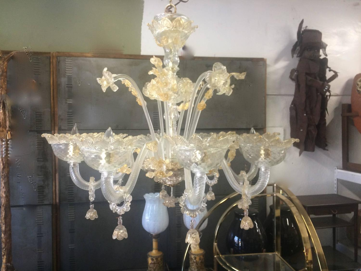 Eight-Arm Murano Chandelier in Gold For Sale at 1stdibs