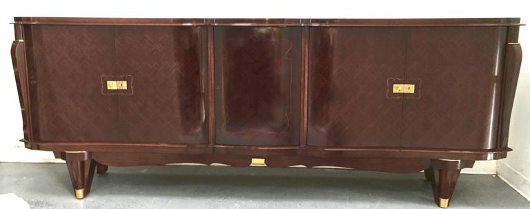 Stunning French Five-Door Deco Buffet Curved Macassar Ebony and Bronze Details 5