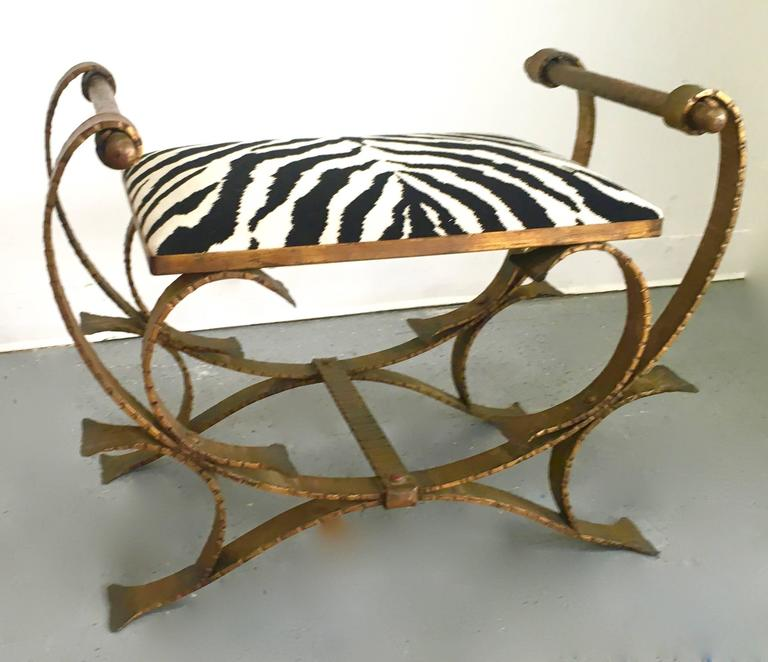 wrought iron bench with wood slats small cushion garden ends gilt stool zebra print