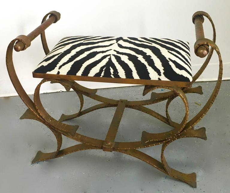 20th Century Gilt Wrought Iron Bench Stool with Zebra Print Cushion For Sale