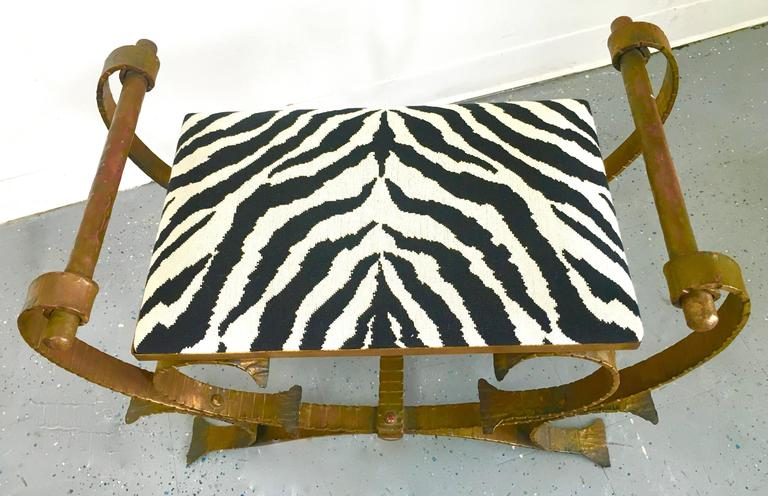 Gilt Wrought Iron Bench Stool with Zebra Print Cushion For Sale 1