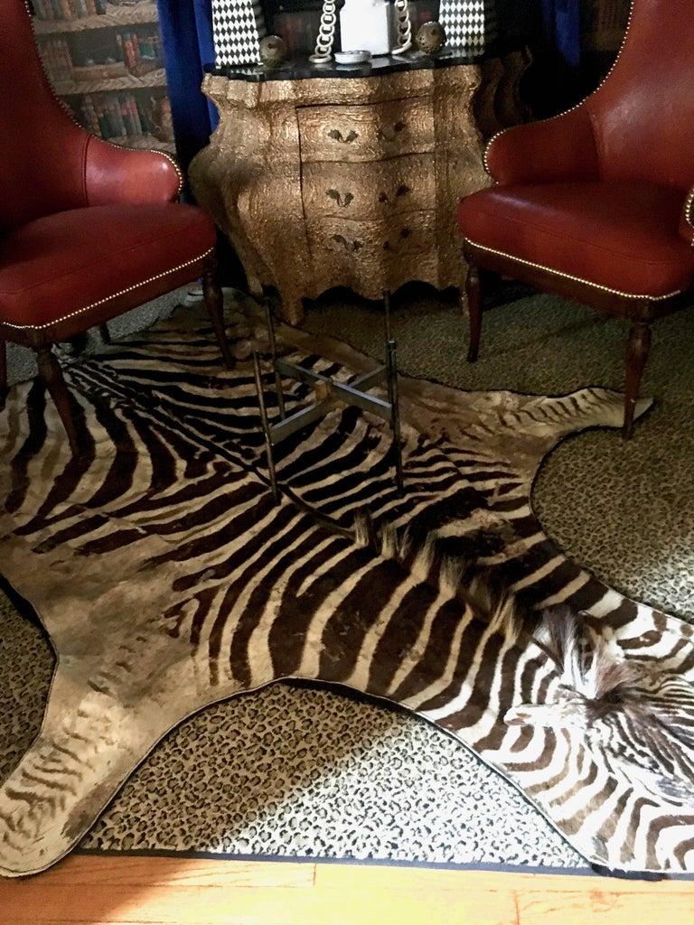 Authentic Vintage Felt Backed Zebra Hide Rug For Sale 3