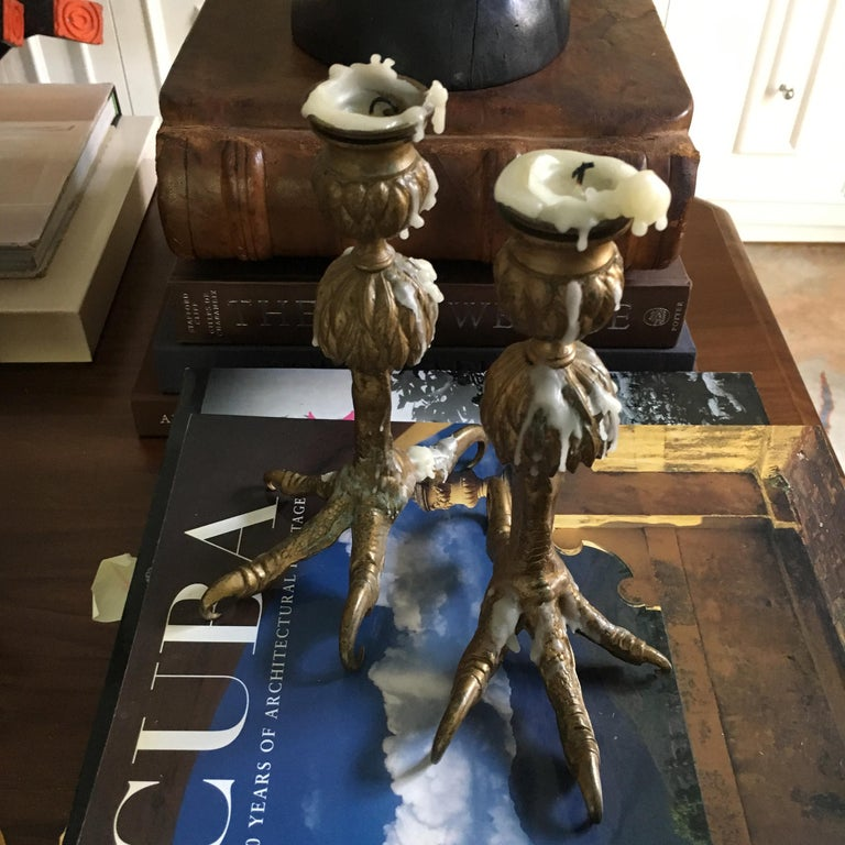 Pair Gold Talon Foot Candle Holders In Excellent Condition For Sale In Los Angeles, CA