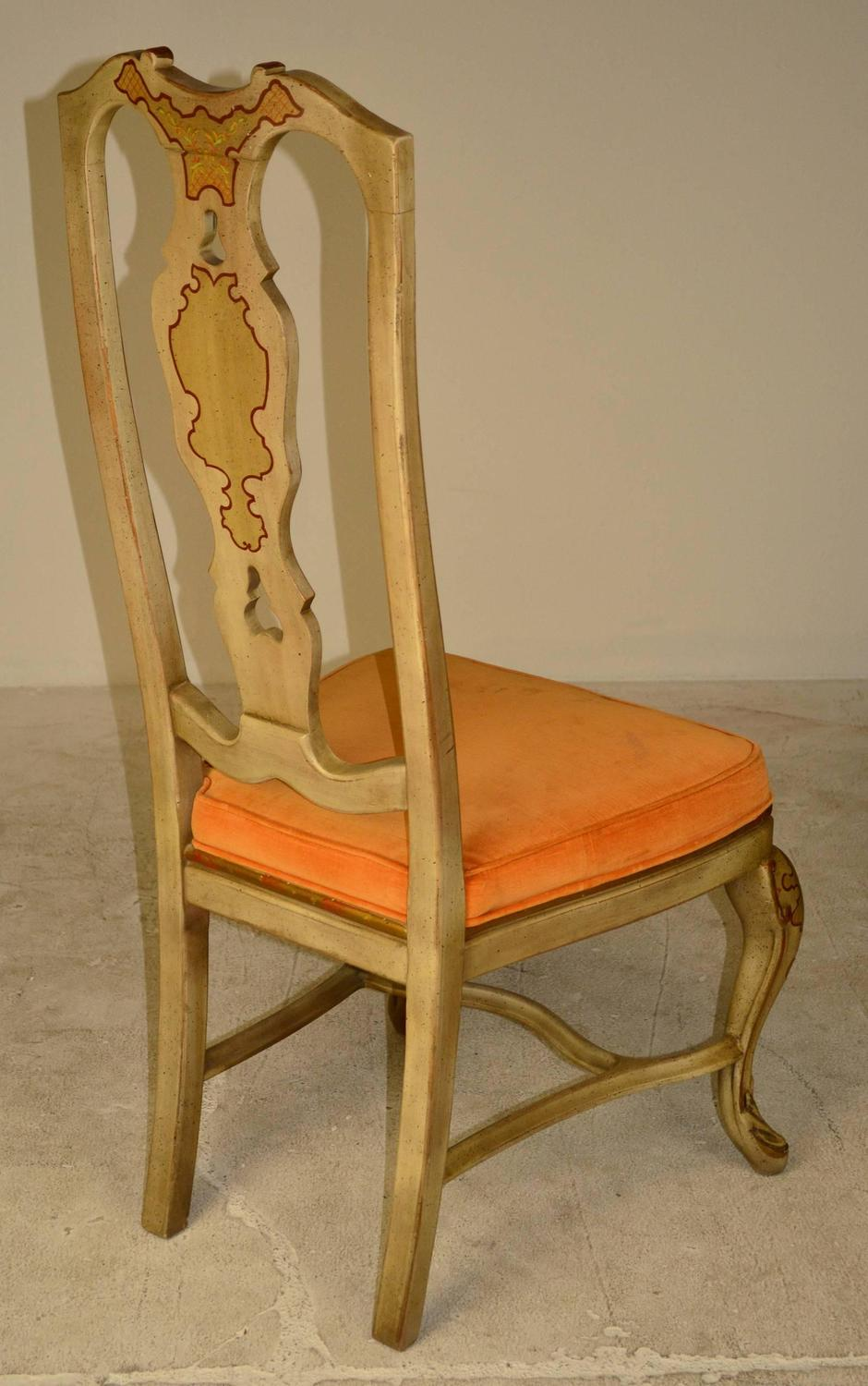 set of six queen anne style chinoiserie dining chairs for sale at