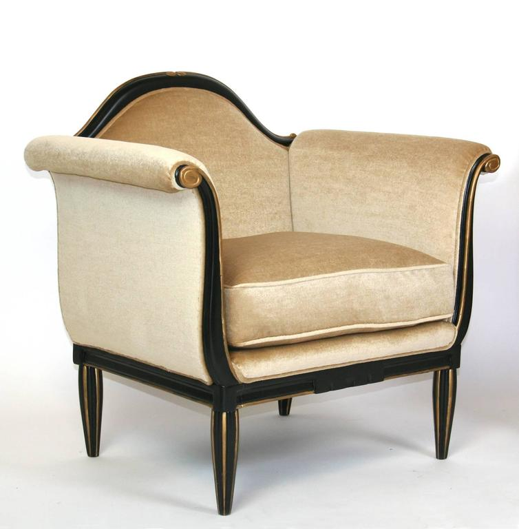 Painted Pair of French Art Deco Lounge Chairs For Sale