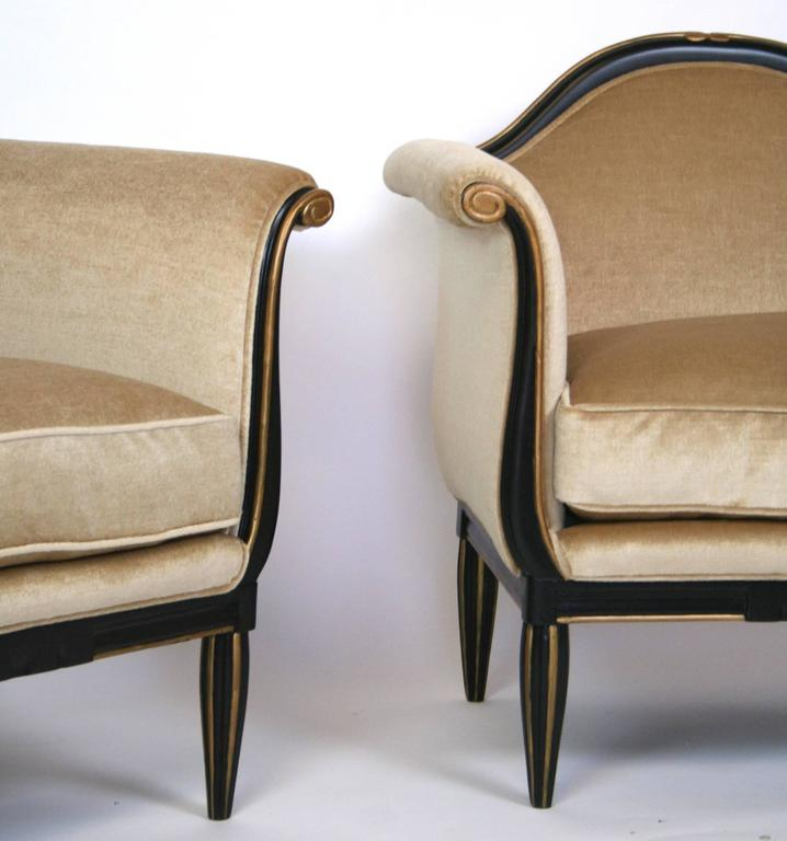 Pair of French Art Deco Lounge Chairs For Sale 3