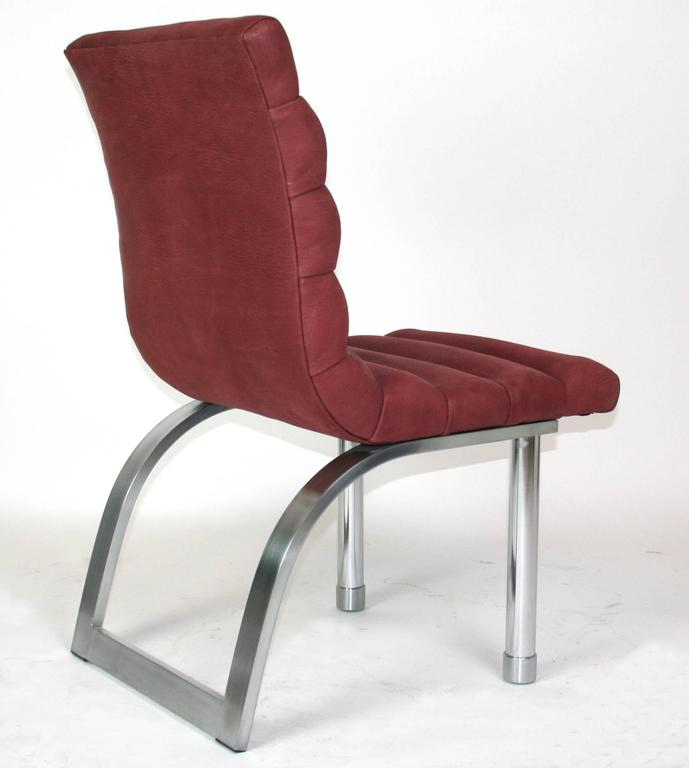 A channel tufted side chair by Jay Spectre for century furniture. Newly upholstered in plum suede.