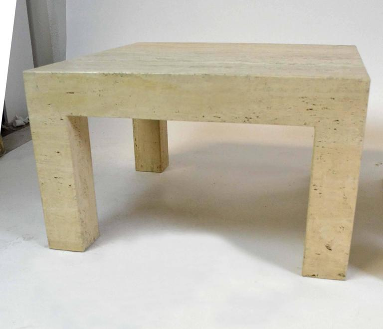 Pair Of Vintage Travertine Parsons Tables 2