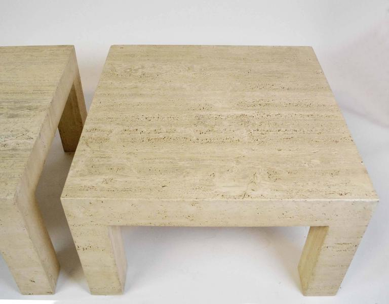 Organic Modern Pair of Vintage Travertine Parsons Tables For Sale