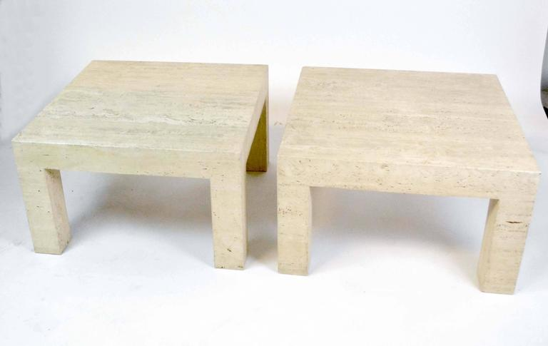 Pair of Vintage Travertine Parsons Tables For Sale 2