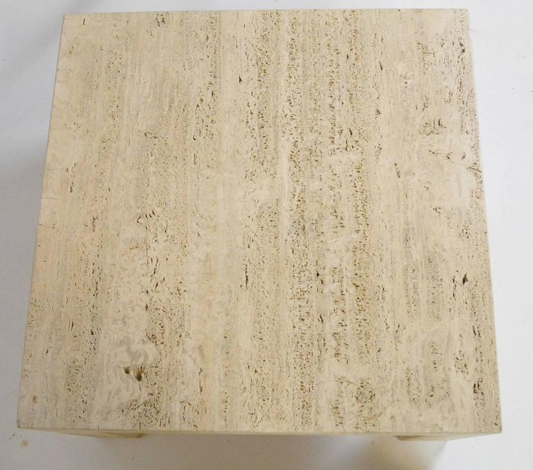 Pair of Vintage Travertine Parsons Tables For Sale 1