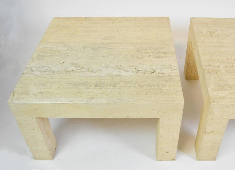 Pair of Vintage Travertine Parsons Tables In Good Condition For Sale In Palm Springs, CA