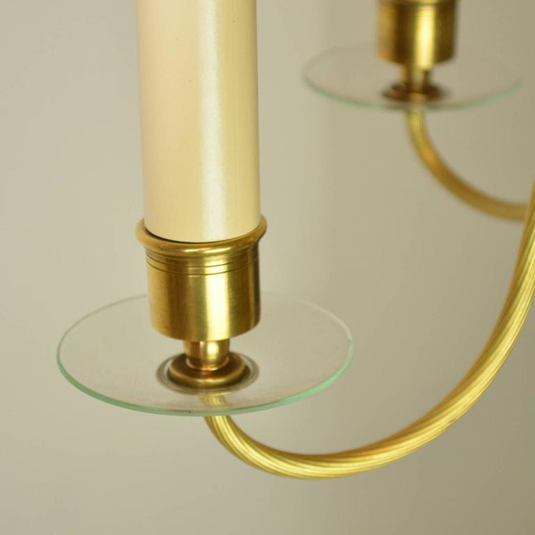 20th Century Mid-Century Modern Brass and Glass Chandelier For Sale