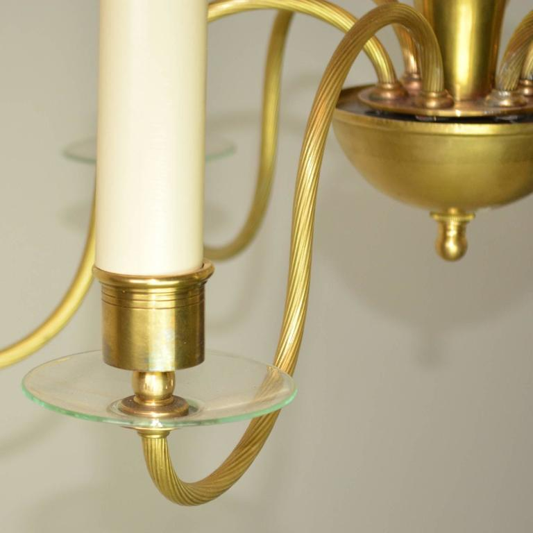 Mid-Century Modern Brass and Glass Chandelier In Good Condition For Sale In Palm Springs, CA